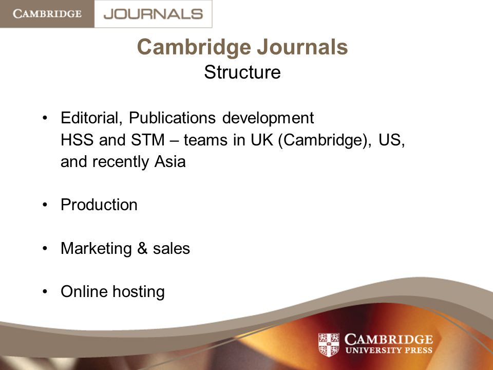 Cambridge Journals Structure