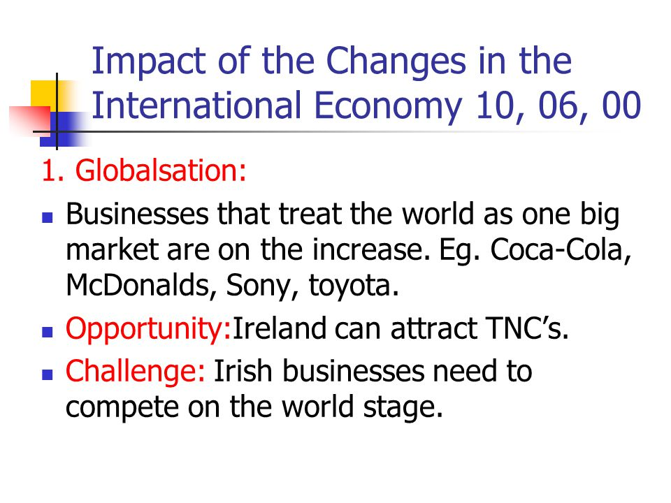 Impact of the Changes in the International Economy 10, 06, 00