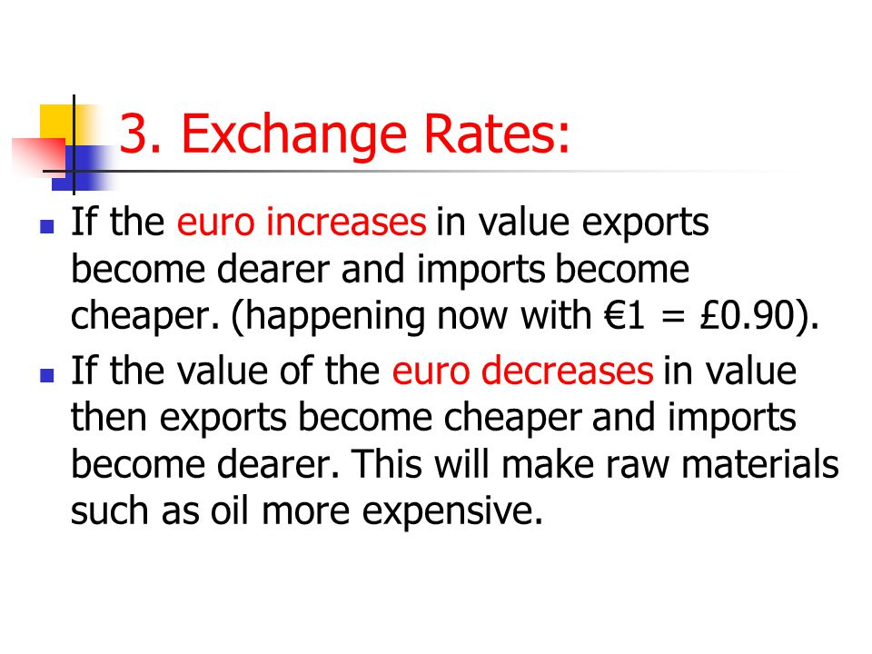 3. Exchange Rates: If the euro increases in value exports become dearer and imports become cheaper. (happening now with €1 = £0.90).