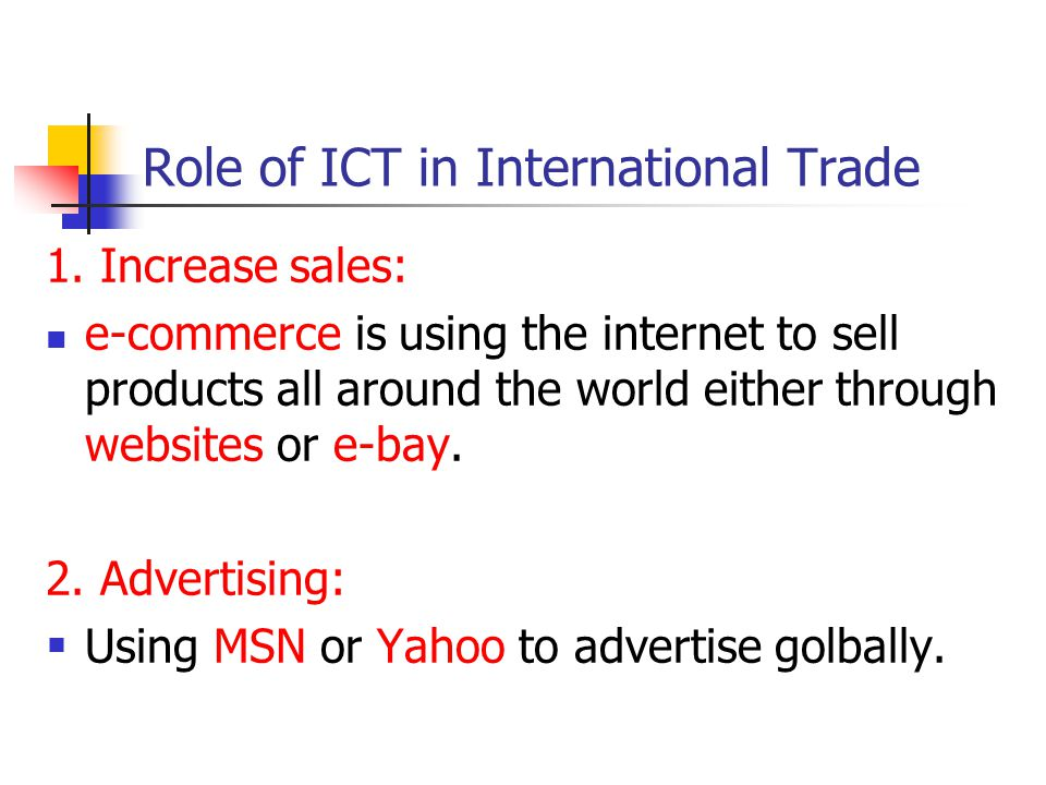 Role of ICT in International Trade