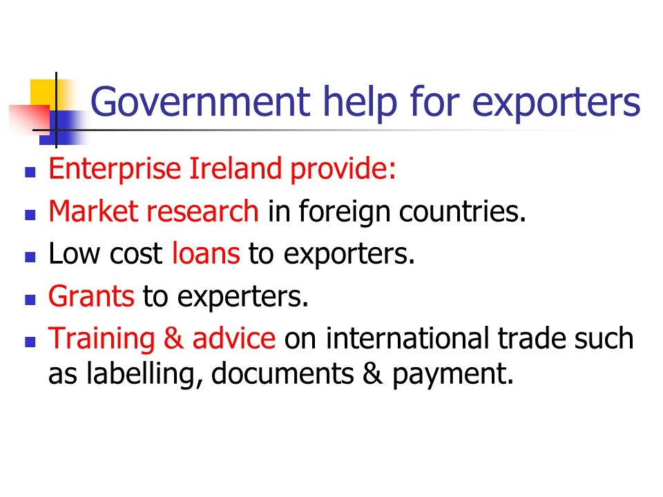 Government help for exporters