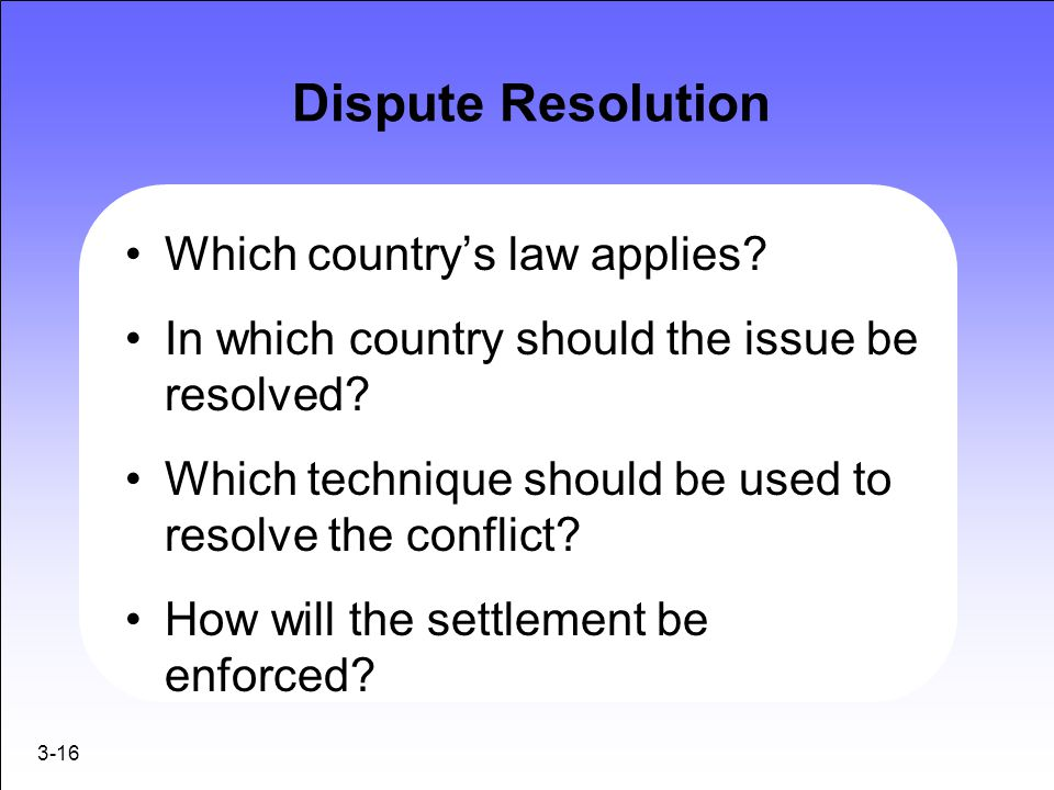 Dispute Resolution Which country's law applies