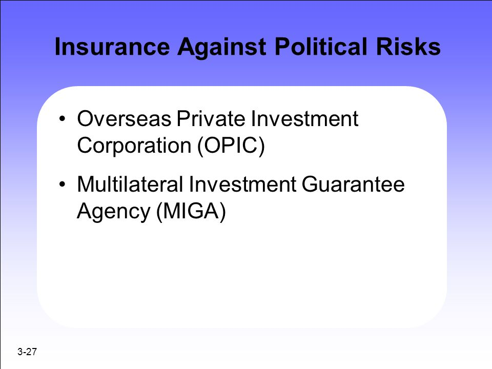 Insurance Against Political Risks