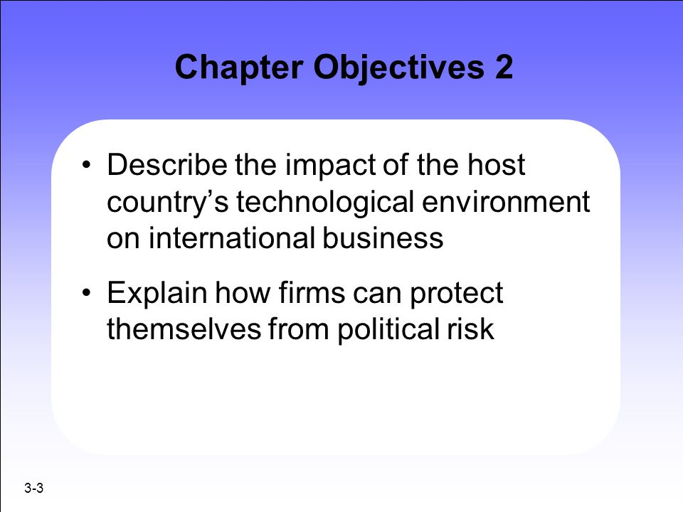 Chapter Objectives 2 Describe the impact of the host country's technological environment on international business.