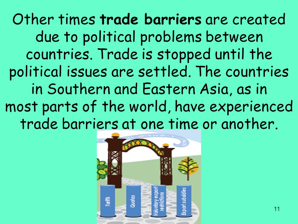 Other times trade barriers are created due to political problems between countries.