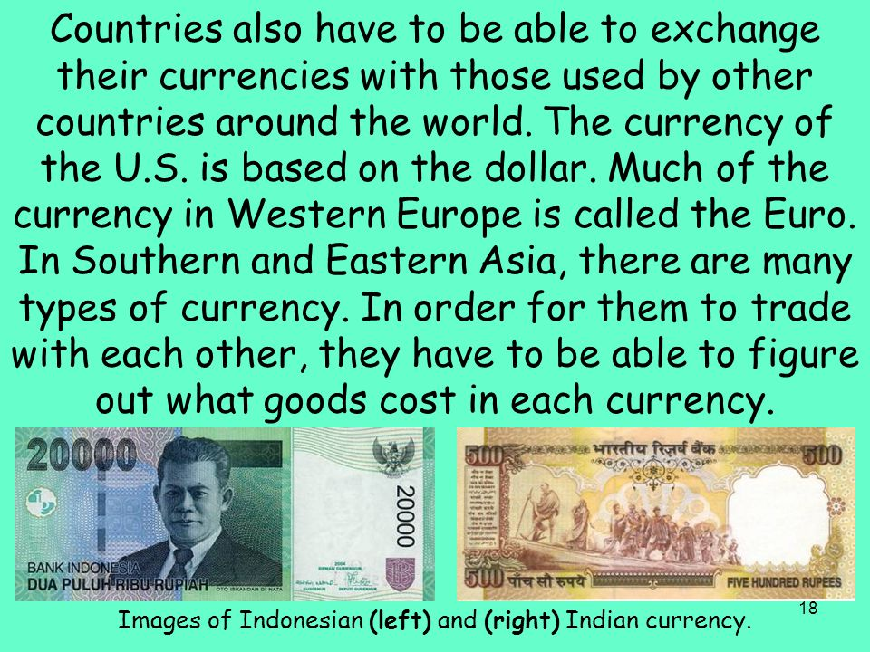 Images of Indonesian (left) and (right) Indian currency.