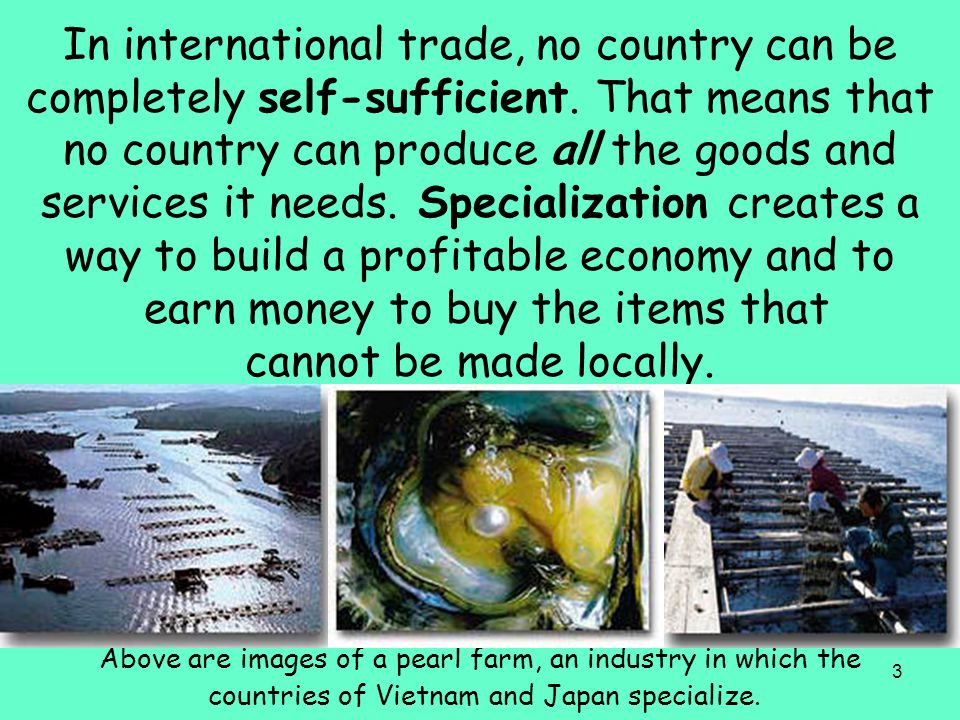 In international trade, no country can be completely self-sufficient