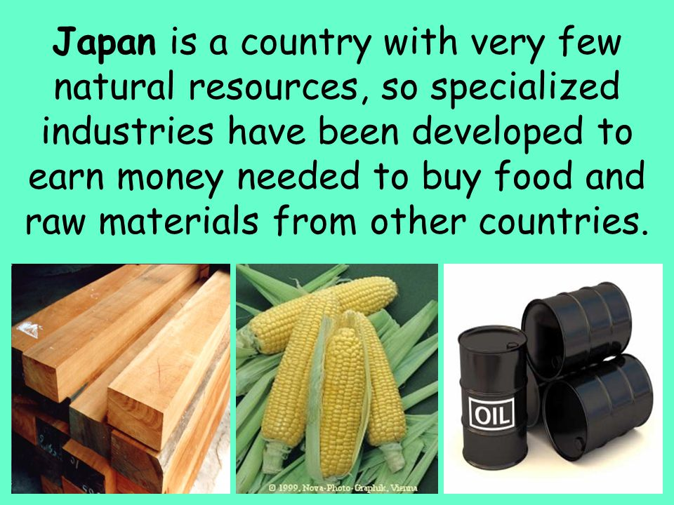 Japan is a country with very few natural resources, so specialized industries have been developed to earn money needed to buy food and raw materials from other countries.