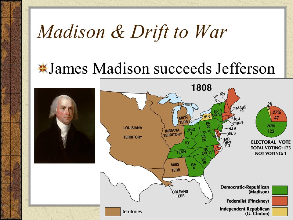 Madison & Drift to War James Madison succeeds Jefferson