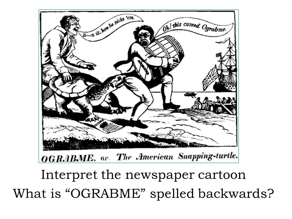 Interpret the newspaper cartoon What is OGRABME spelled backwards