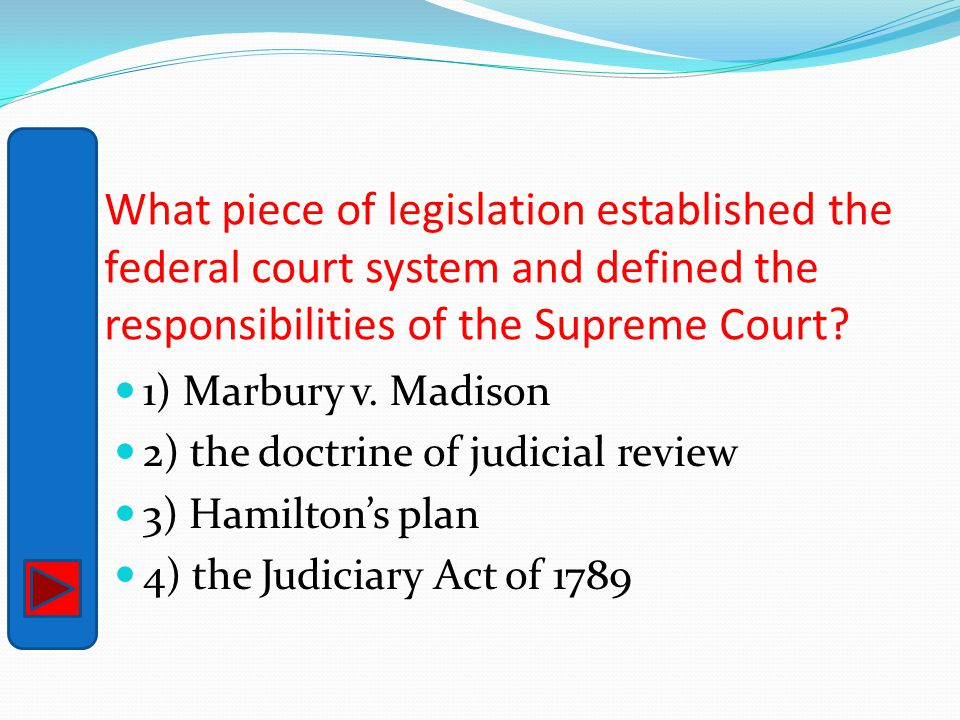 What piece of legislation established the federal court system and defined the responsibilities of the Supreme Court