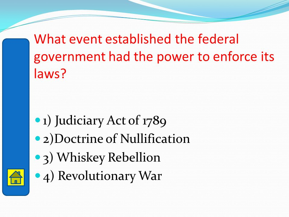 What event established the federal government had the power to enforce its laws