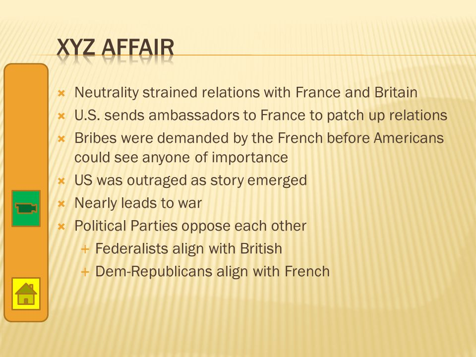 XYZ Affair Neutrality strained relations with France and Britain