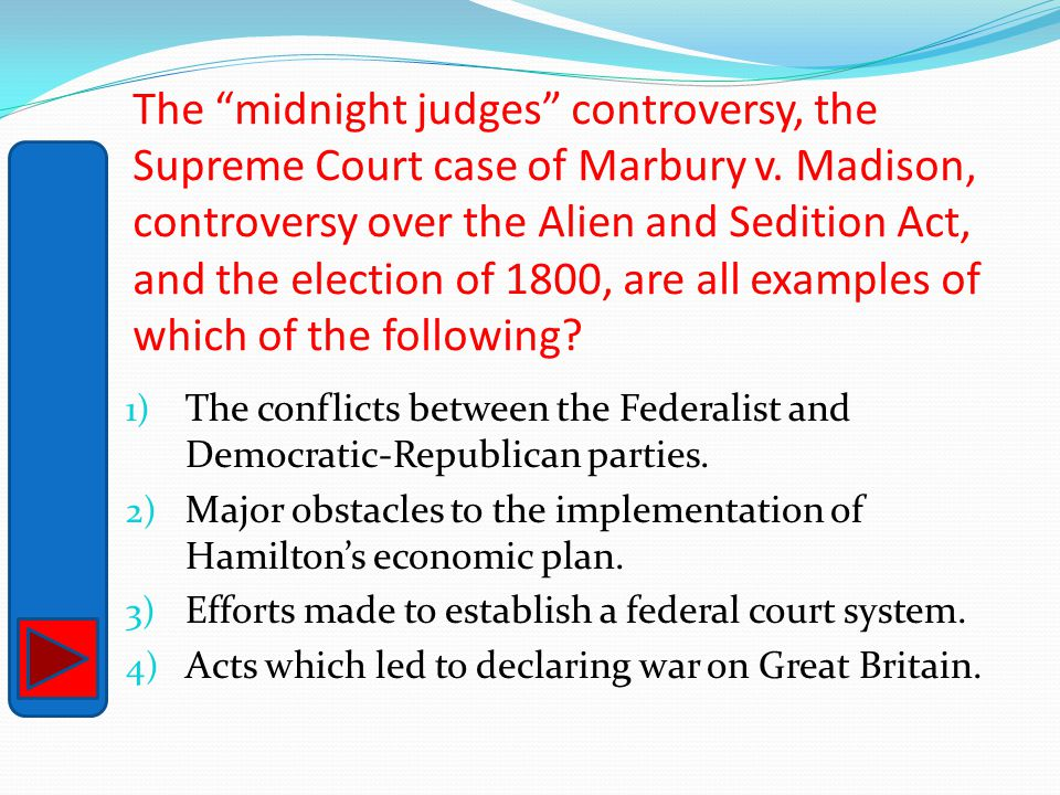 The midnight judges controversy, the Supreme Court case of Marbury v