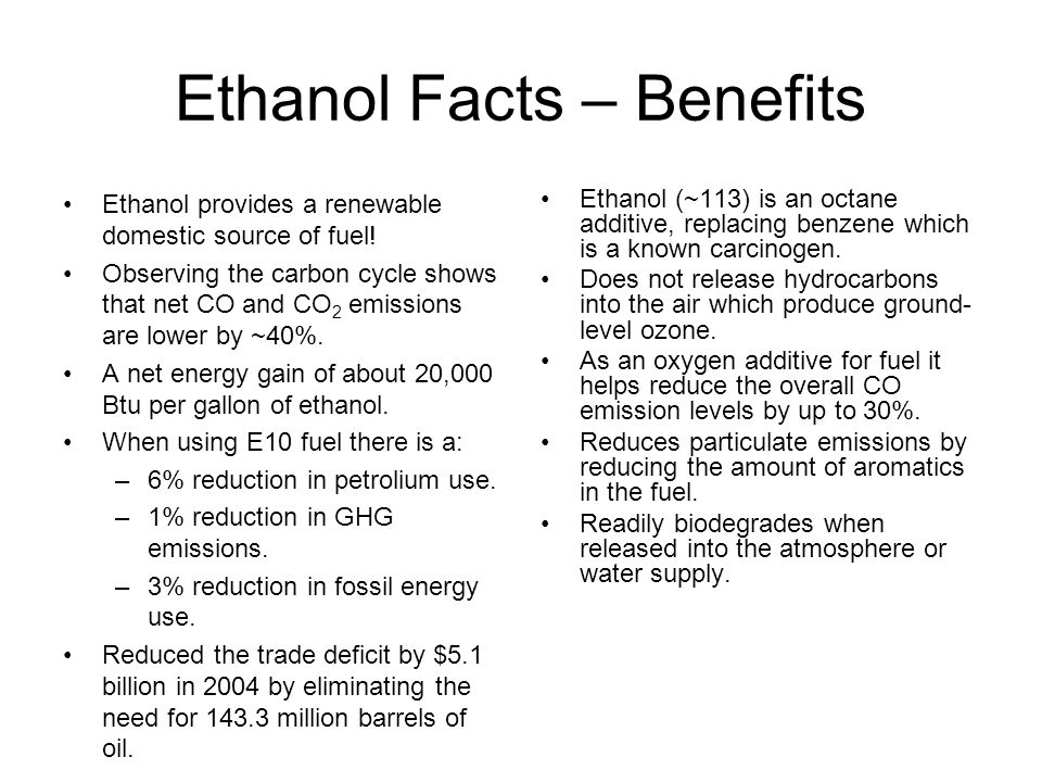 Ethanol Facts – Benefits