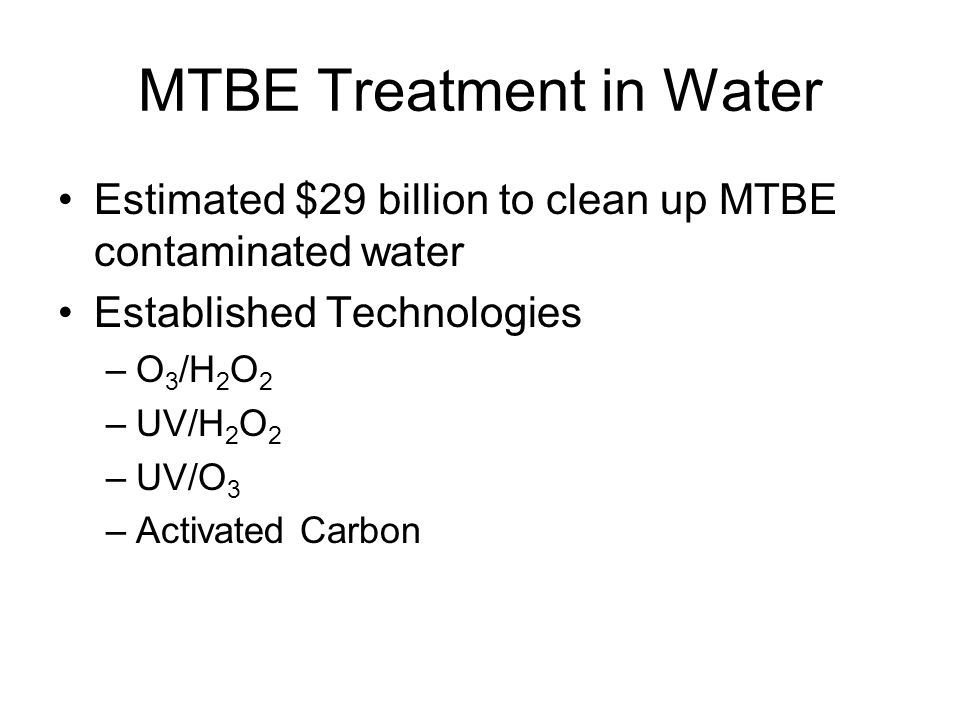MTBE Treatment in Water