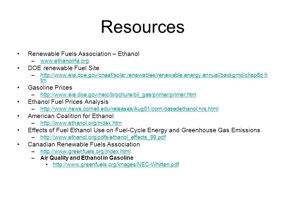 Resources Renewable Fuels Association – Ethanol