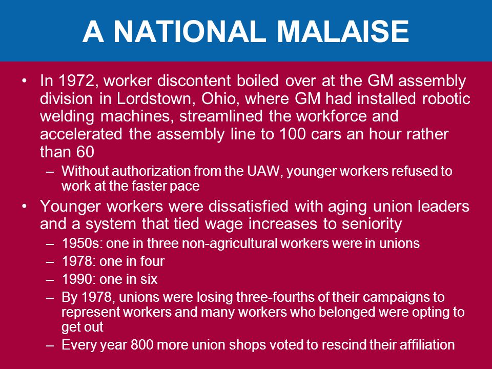A NATIONAL MALAISE