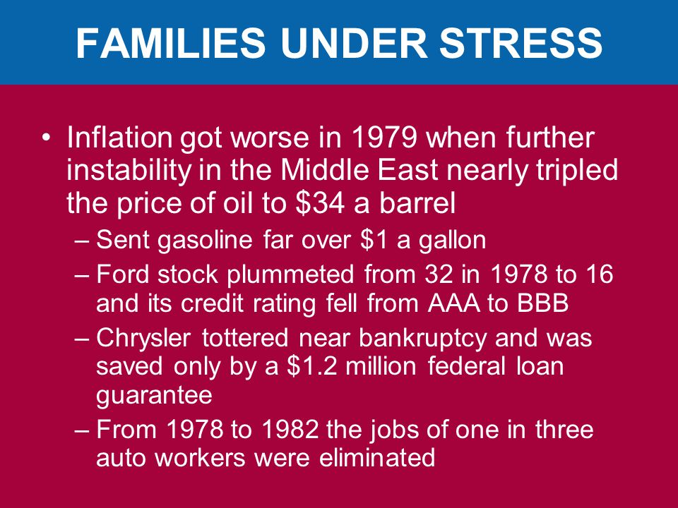 FAMILIES UNDER STRESS Inflation got worse in 1979 when further instability in the Middle East nearly tripled the price of oil to $34 a barrel.