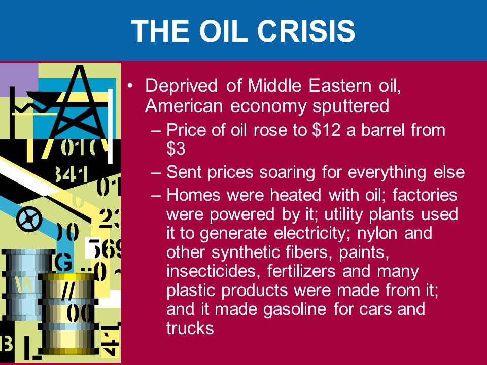 THE OIL CRISIS Deprived of Middle Eastern oil, American economy sputtered. Price of oil rose to $12 a barrel from $3.