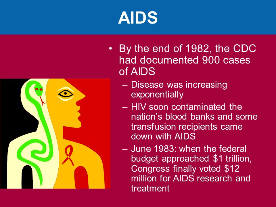 AIDS By the end of 1982, the CDC had documented 900 cases of AIDS