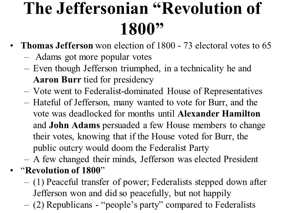The Jeffersonian Revolution of 1800