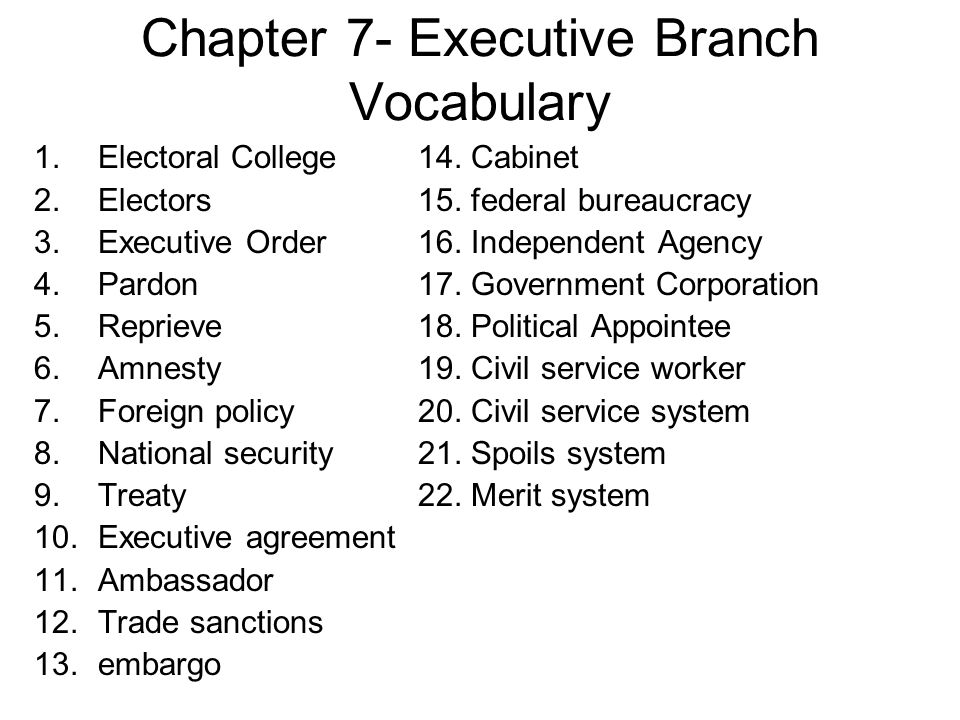 Chapter 7- Executive Branch Vocabulary