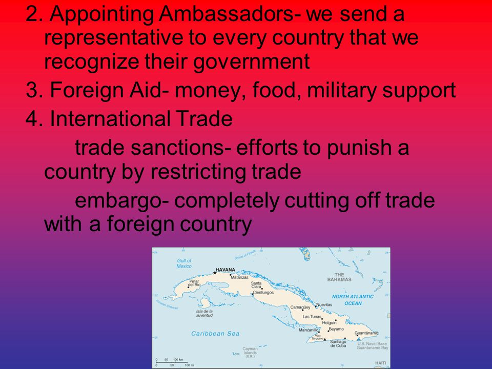 2. Appointing Ambassadors- we send a representative to every country that we recognize their government