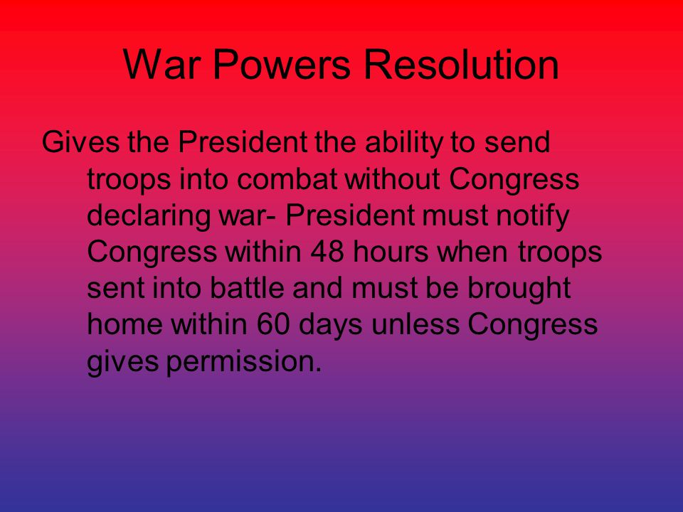War Powers Resolution