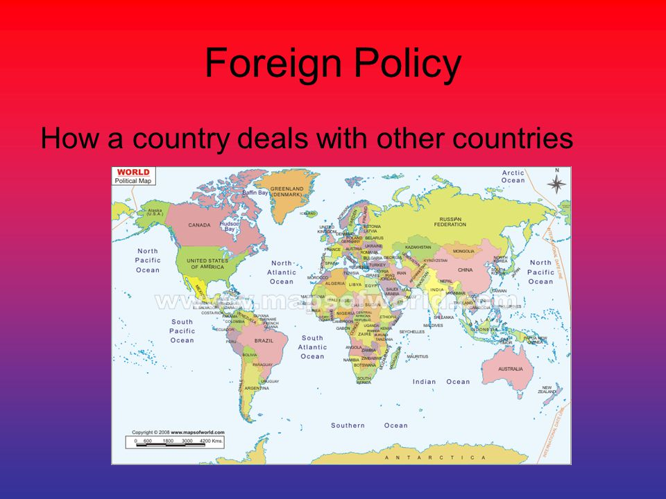Foreign Policy How a country deals with other countries