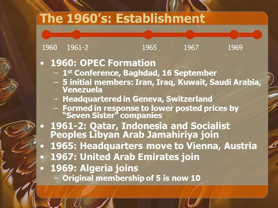 The 1960's: Establishment 1960: OPEC Formation