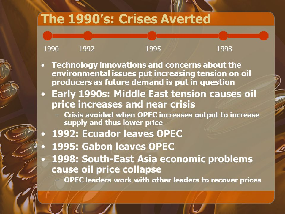 The 1990's: Crises Averted 1990. 1992. 1995. 1998.