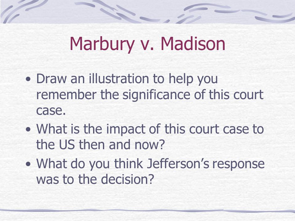Marbury v. Madison Draw an illustration to help you remember the significance of this court case.