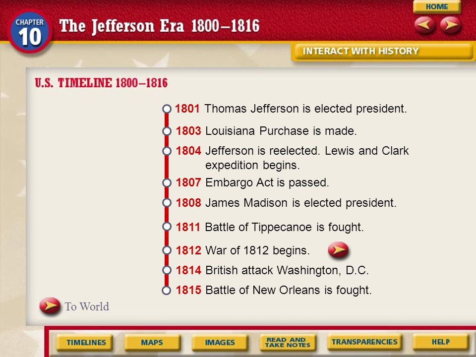 1801 Thomas Jefferson is elected president.