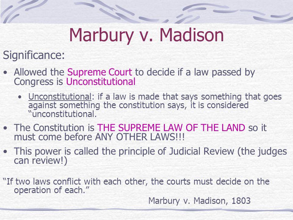 Marbury v. Madison Significance:
