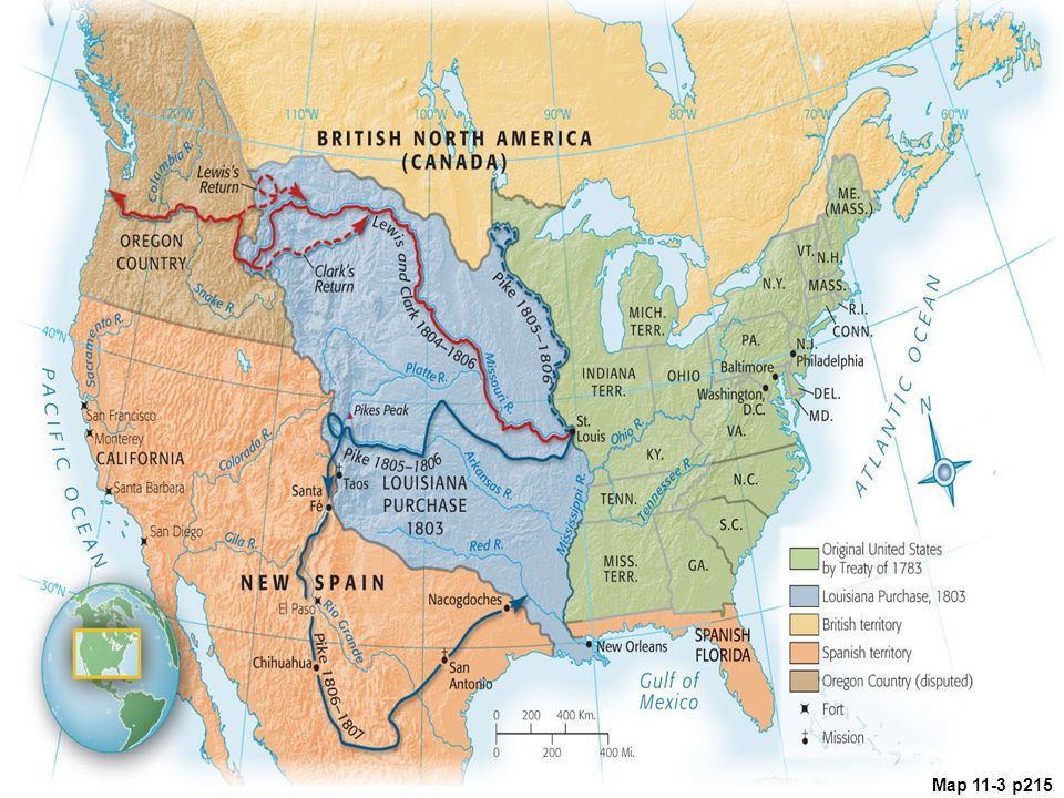 Map 11.3 Exploring the Louisiana Purchase and the West Seeking to avert friction