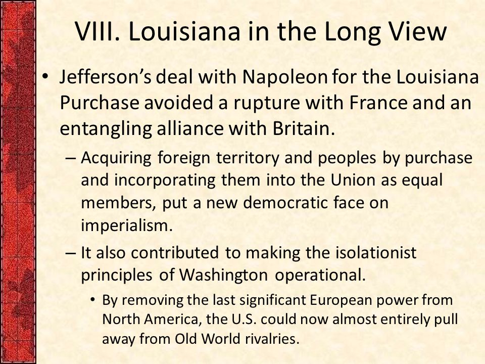VIII. Louisiana in the Long View
