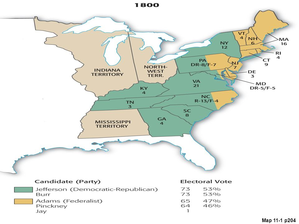 Map 11.1 Presidential Election of 1800 (with electoral