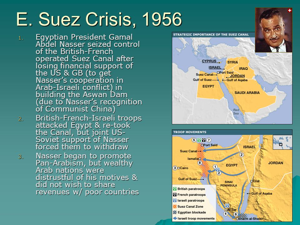 E. Suez Crisis, 1956