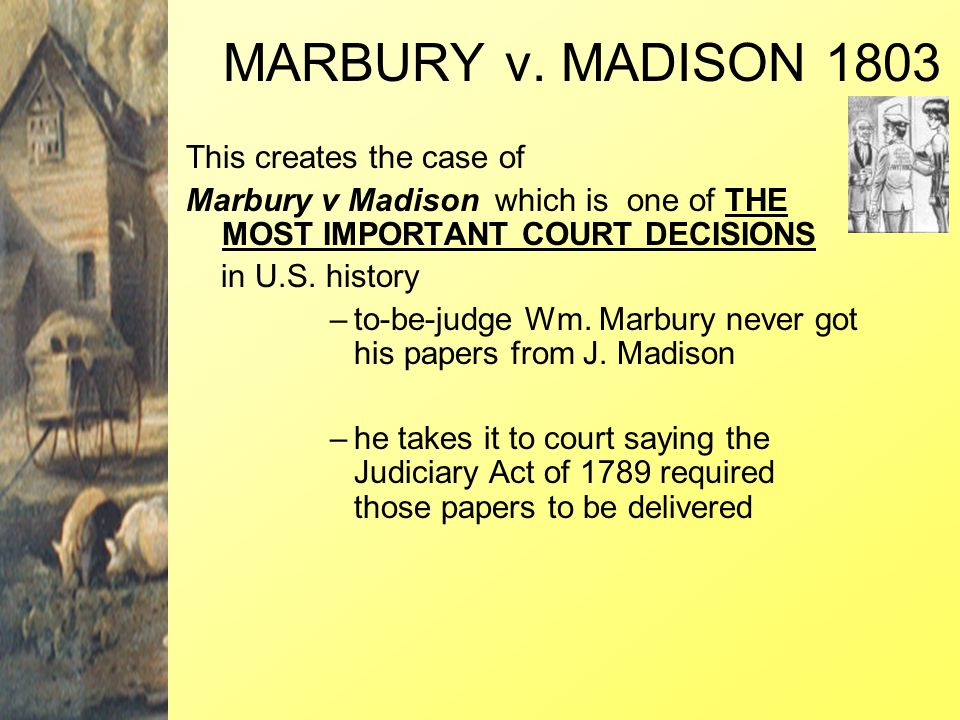 MARBURY v. MADISON 1803 This creates the case of