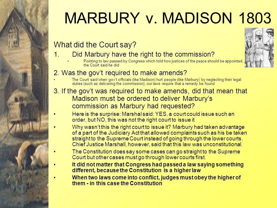 MARBURY v. MADISON 1803 What did the Court say