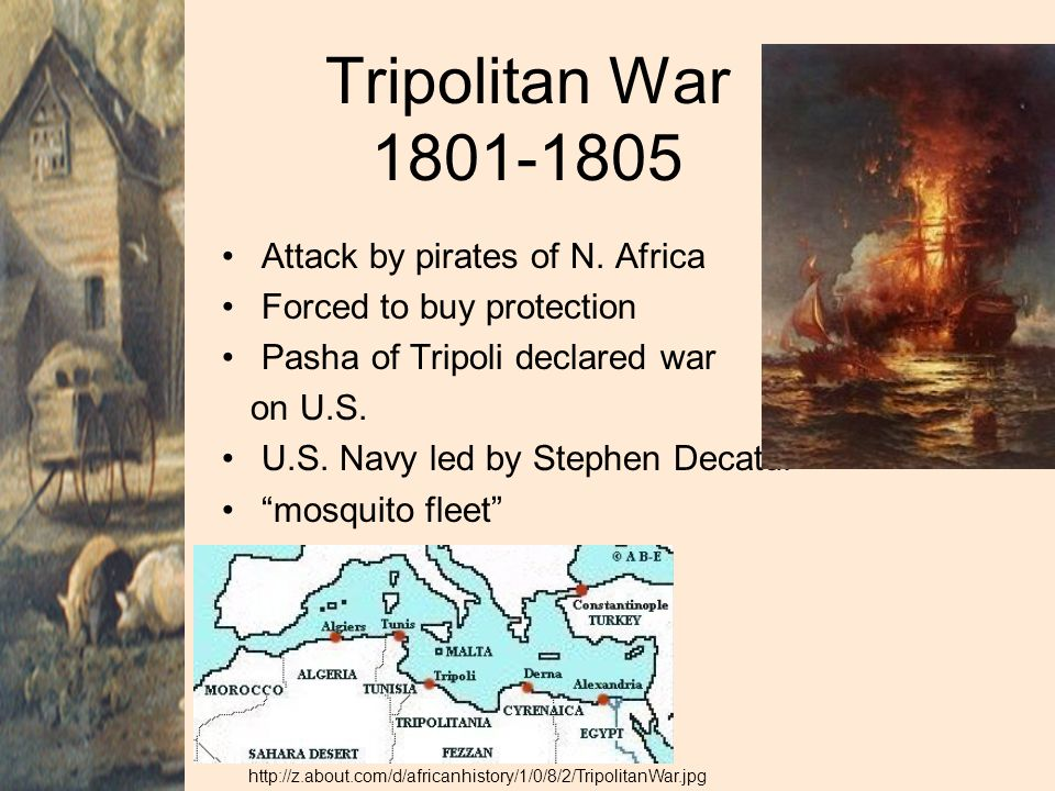 Tripolitan War 1801-1805 Attack by pirates of N. Africa