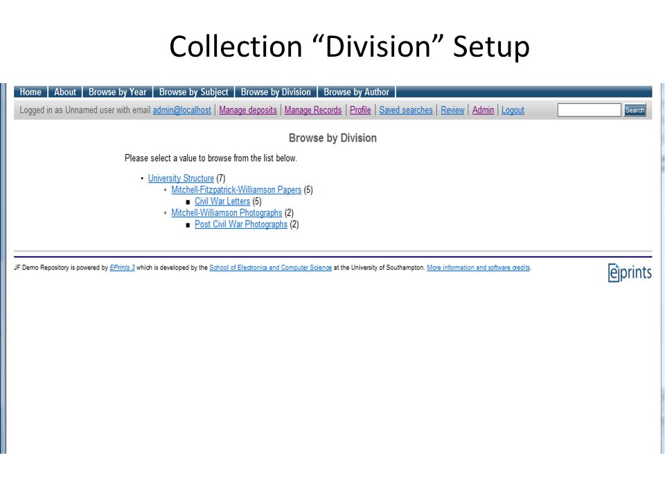 Collection Division Setup