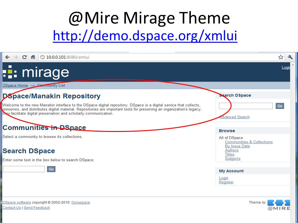 @Mire Mirage Theme http://demo.dspace.org/xmlui
