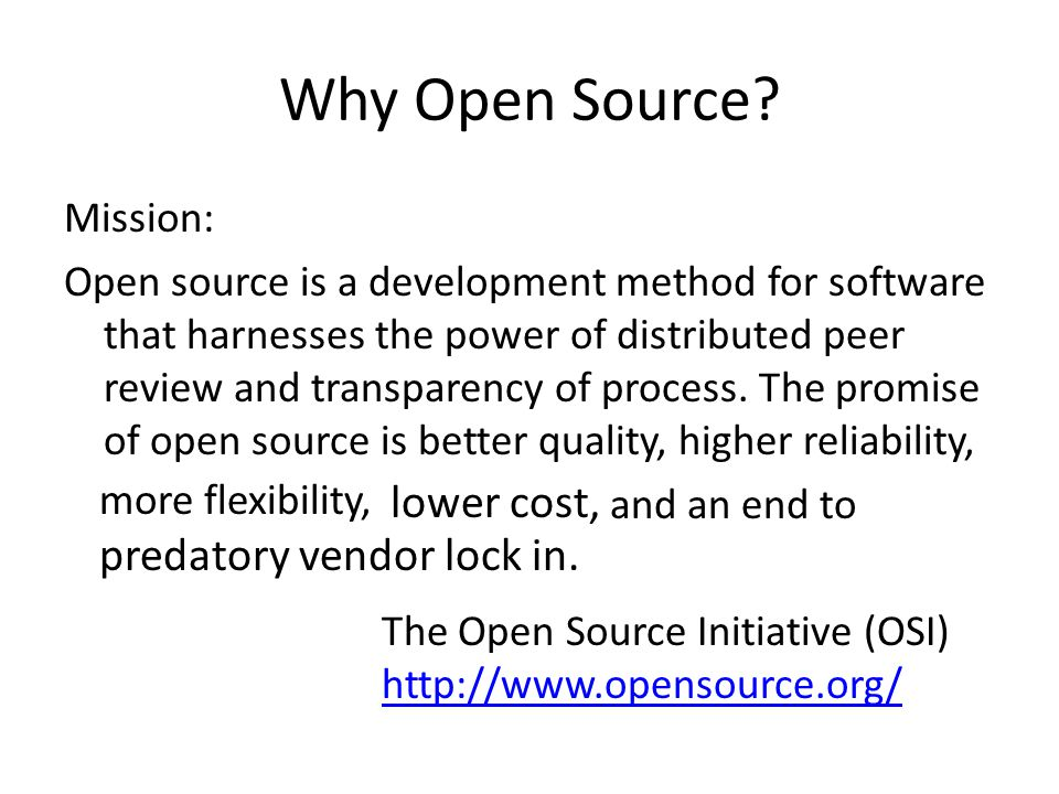 Why Open Source lower cost, predatory vendor lock in.
