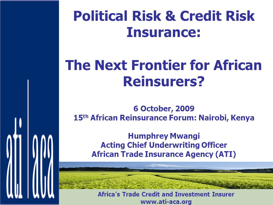 Political Risk & Credit Risk Insurance: The Next Frontier for African Reinsurers.