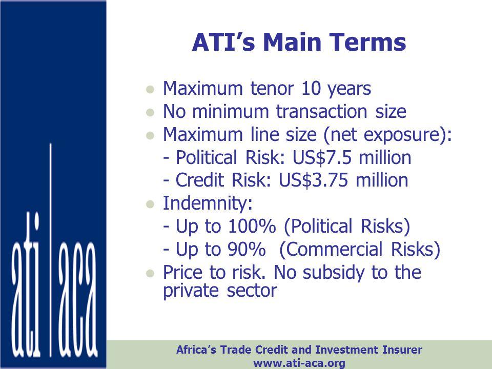 ATI's Main Terms Maximum tenor 10 years No minimum transaction size