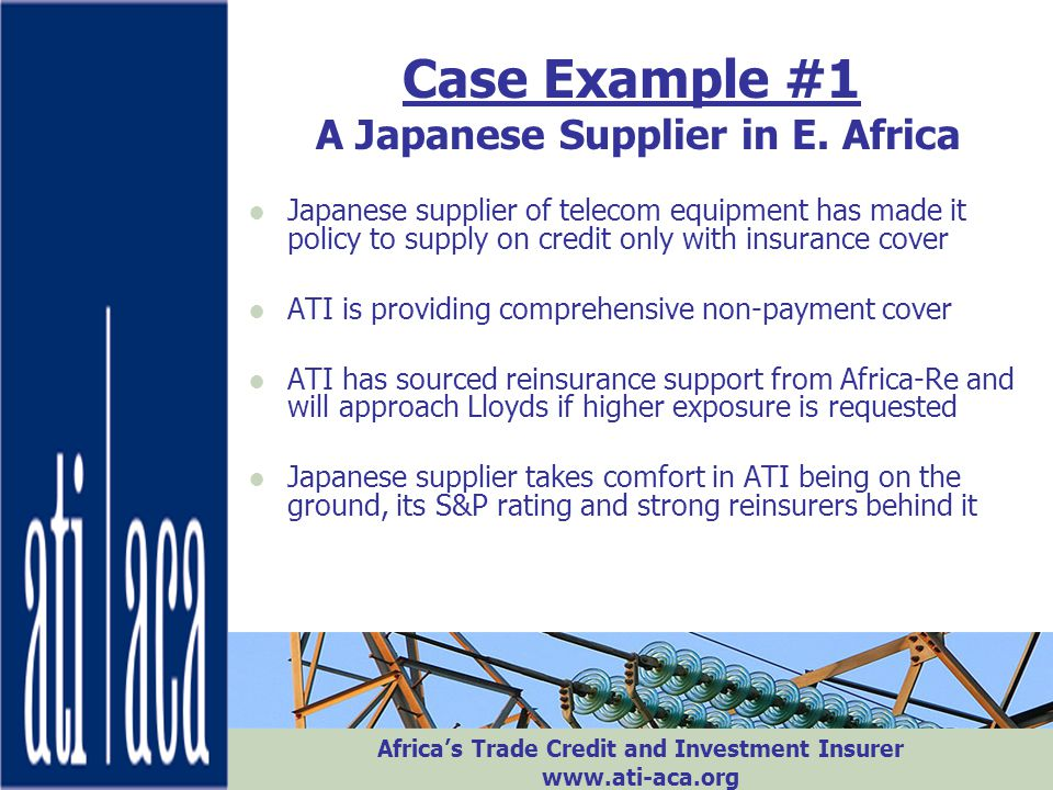 Case Example #1 A Japanese Supplier in E. Africa