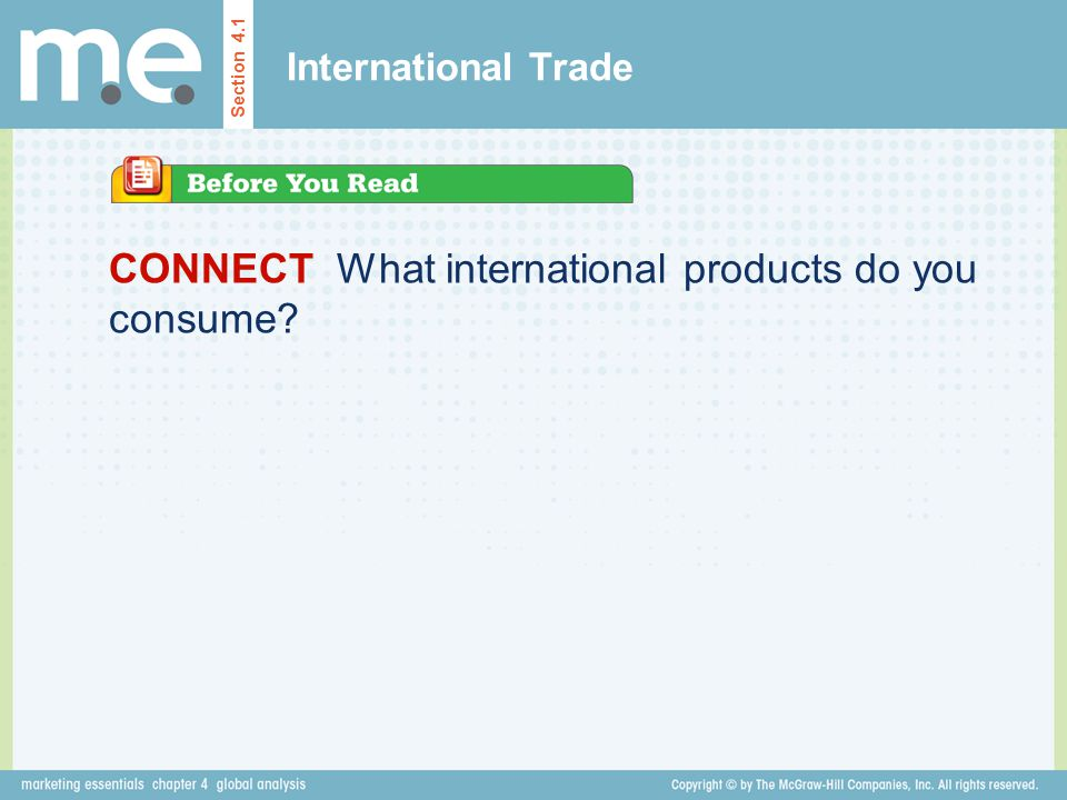 CONNECT What international products do you consume