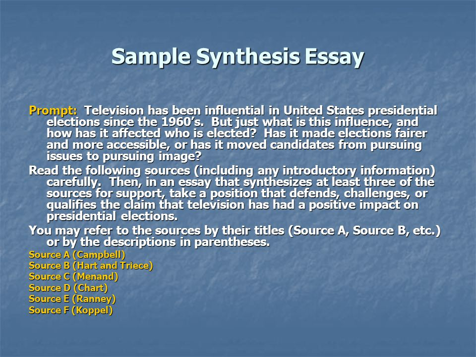 synthesis essay on televsion
